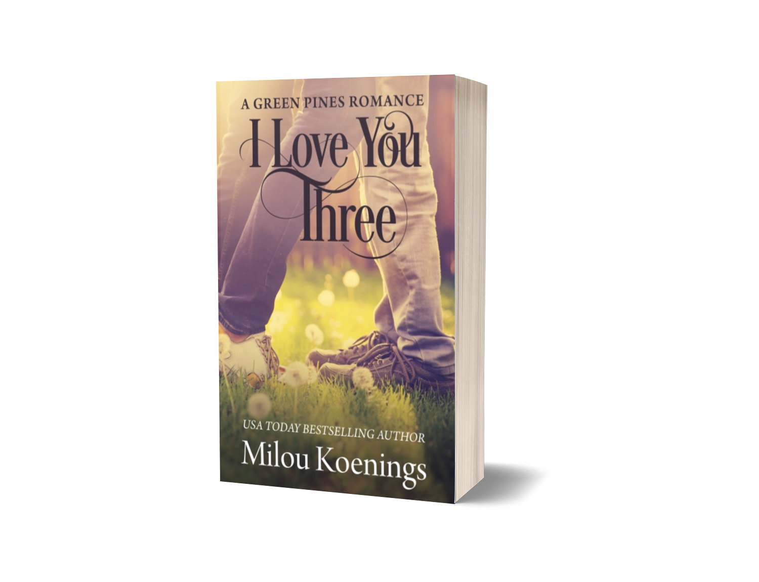 Cover of I Love You Three shows a man and a woman facing each other in a field.